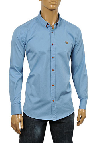 ARMANI JEANS Men's Button Up Dress Shirt In Blue #233