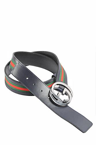 GUCCI Men's Leather Belt With Red And Green Stripe 54