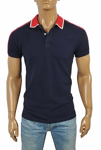 GUCCI men's cotton polo with GUCCI stripe navy blue color #388