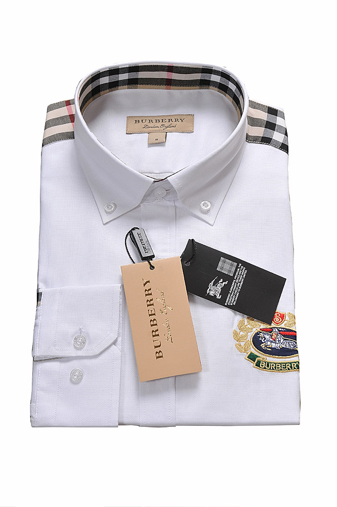 Mens Designer Clothes | BURBERRY men's long sleeve dress shirt with logo embroidery 256
