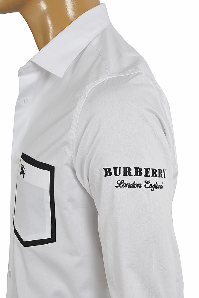 Mens Designer Clothes | BURBERRY men's cotton dress shirt with embroidery 258
