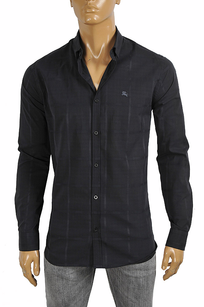 Mens Designer Clothes | BURBERRY men's cotton high quality dress shirt in black 259