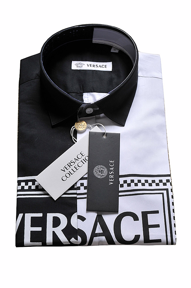Mens Designer Clothes | VERSACE Men's White and Black Dress Shirt 185